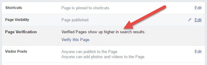 Screenshot from Facebook saying Verified Pages Appear Higher Up in Search Results