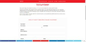Volunteer registration form linked to MailChimp